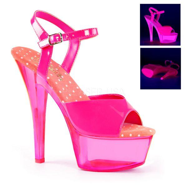 KISS-209UVT neon hot pink     Plateau Sandalette neon-hot-pink mit durchsichtigem Plateau